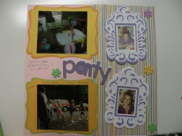 Finished Scrapbook layout Party themed page