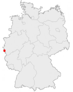 Map location of Aachen in Germany