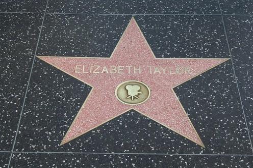 "Elizabeth Taylor's star on the ""Hollywood Walk of Fame."""