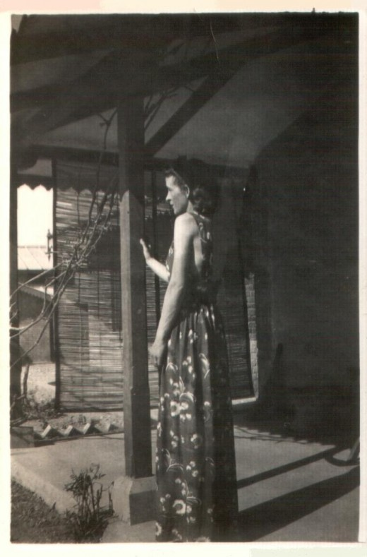 Ann on the veranda of the Bungalow in Dehu Road, near Poona (now Pune)