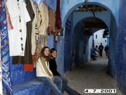 Narrow streets of Chefchaouen's Old City or Medina.