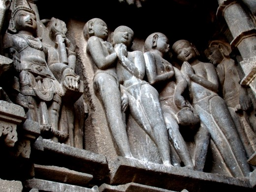 Stone sculpture on the outside wall of Aundha Nagnath temple (Pancha Pandava -- i.e. 5 Pandava brothers of the Maha Bharata fame)