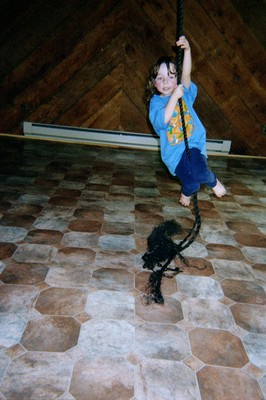 Sword climbing a rope that no longer exists because Bow destroyed it over a linoleum floor that also no longer exists because Bow destroyed it