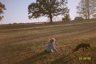 Sword and Teyman play on the grass in the front yard