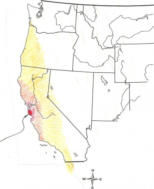 (approximate) Origin and impact zone of California Earthquake