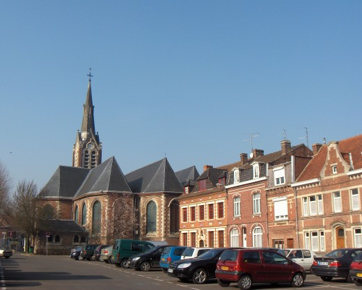 Bousbecque, France, with its 15th century St. Martin's church and 19th century tower.