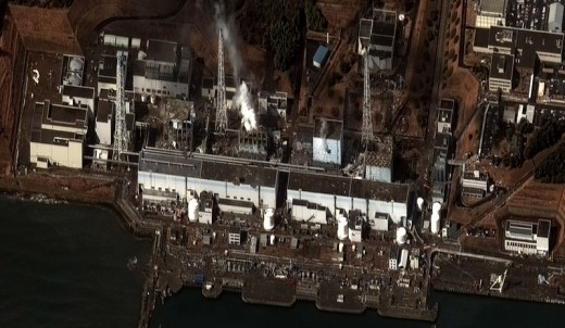 Satellite view of tsunami damage to the nuclear plant at Fukushima, Japan.  Image courtesy Wikimedia Commons and Digital Globe 2.
