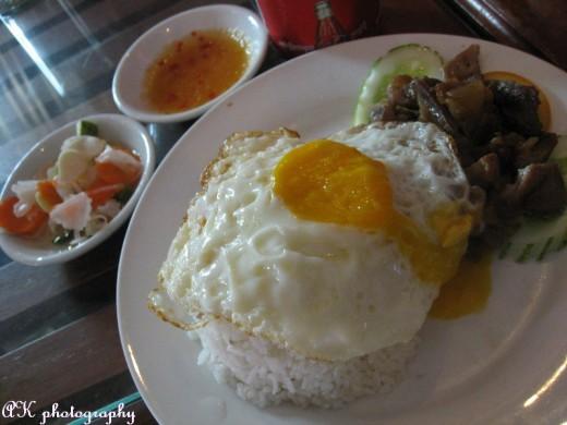 Cambodia, rice with eggs