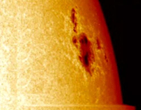 A Sun Spot shows as a dark patch
