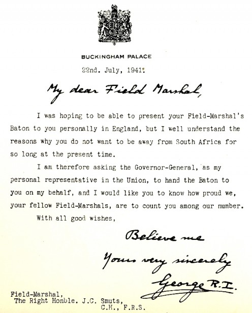 King George VI's note to Smuts appointing him Field Marshall. Image Smuts House Museum