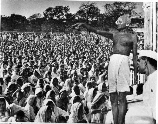 Gandhi - Addressing a ralley