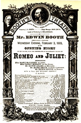 Booth's Theatre Opening Night program for Romeo and Juliet, February 3, 1869