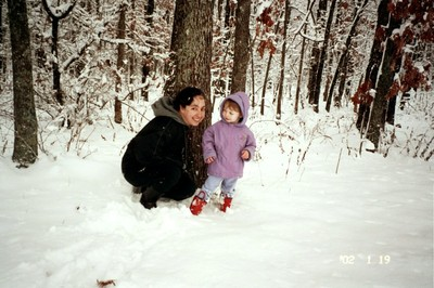 Sword and I near our woods during the first winter.