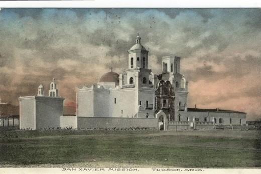 San Xavier del Bac Mission Hand Colored Postcard Circa 1910