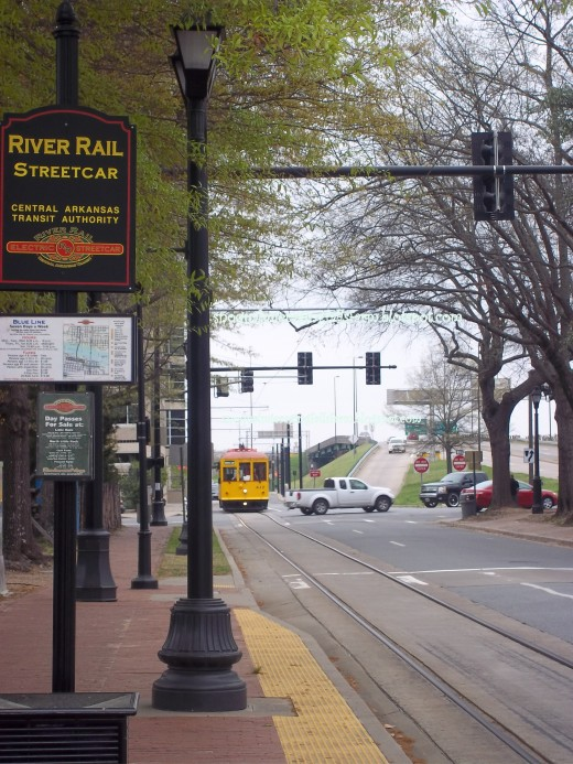 The route of the tram, green transport, running through Little Rock Downtown, and Argenta in NLR
