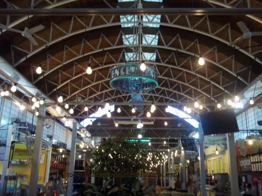 The inner pavilion at the River Market. Indoors, sit down, eat frugally, or dine internationally