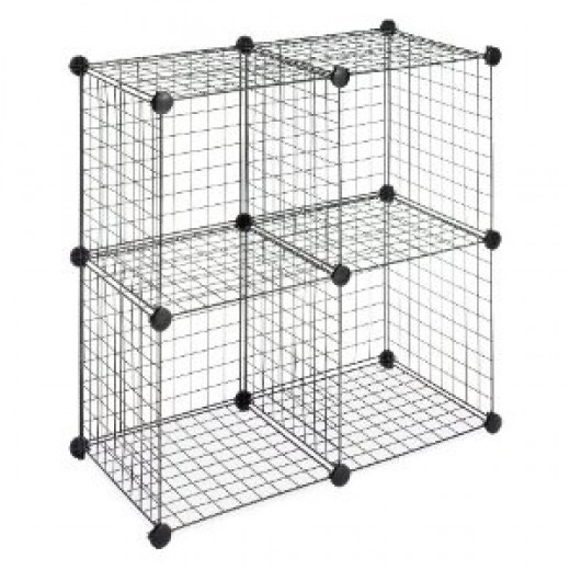 The type of metal mesh cube storage unit that can be linked together to create runs for guinea pigs or rabbits - you can make large squares, rectangles or even entire cages