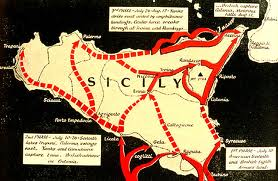 Map For Operation Husky, The invasion of Sicily.