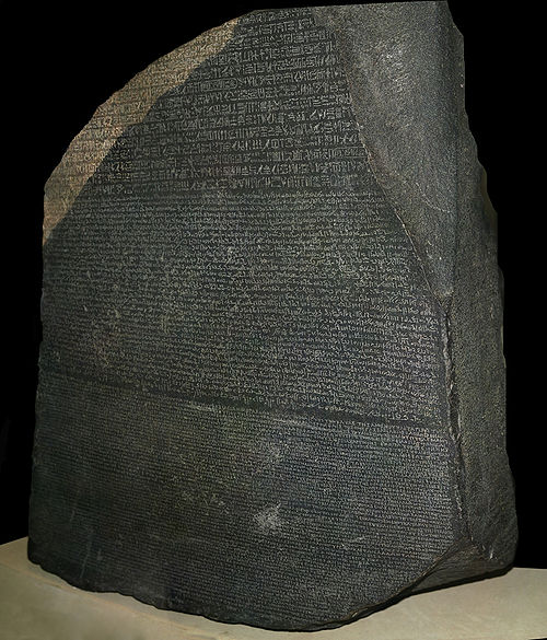 The Rosetta Stone was the first ancient trilingual text discovered in modern times. The Ancient Greek (bottom) enabled researchers to decipher Egyptian hieroglyphs (top) and demotic script (middle).