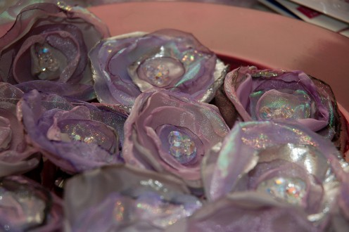 shimmery fabric flowers at Tradewind Tiaras