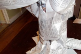 closeup of trunk with newspaper wrap