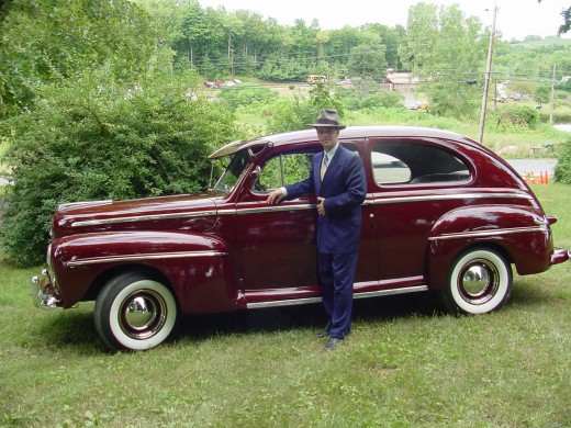 Bernard with his new Ford Deluxe (my husband's 48 Ford)