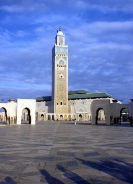 Hassan II Mosque's 210 meter Minaret, the highest in the world. Casablanca, Morocco.
