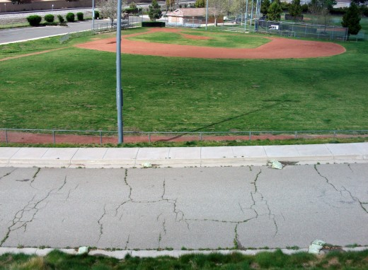 Looking down on the park in Loma Linda with a baseball field.  This area is popular with small groups playing ball in the spring and summer.