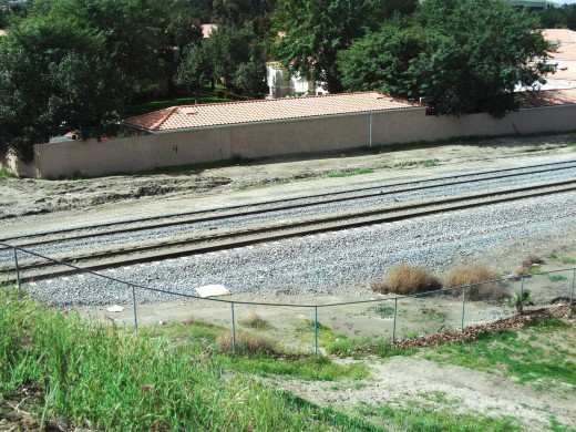 Looking down on the railroad tracks in Loma Linda, California.