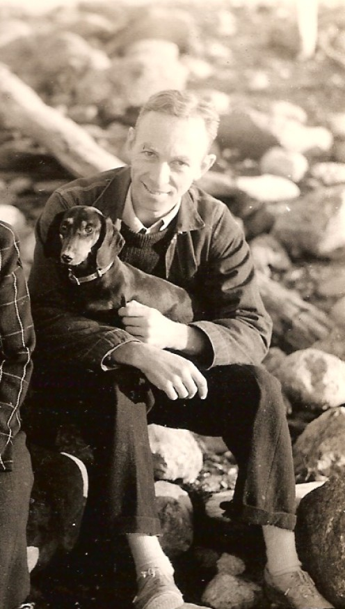 E.B. White with his dog Minnie. Image from Wikipedia