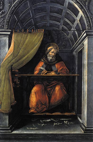 St. Augustine in His Cell, by the Italian Renaissance master Sandro Botticelli, around 1490-1494. It is housed in the Uffizi, in Florence.Imge via Wikipedia