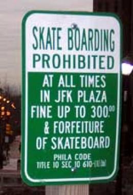Skate boarding sign in Philadelphia