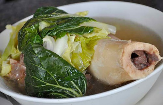 Batangas BULALO - pork or beef marrow is always served with Indian black rice