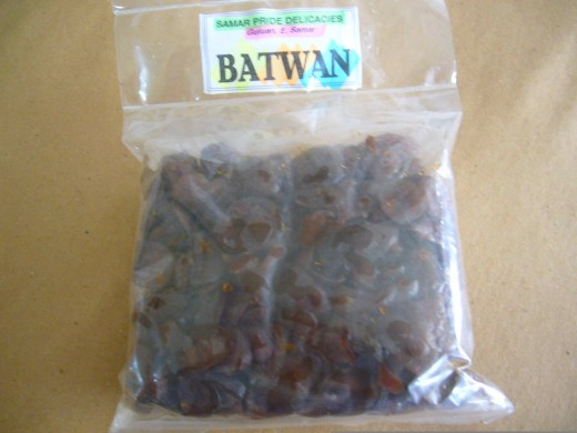 BATWAN - dehydrated batwan, sweetened and dried;  local version of the grape prune