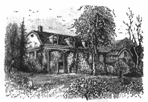 "A 1900 drawing of ""Cedarmere"", one three houses owned by poet and journalist William Cullen Bryant. This is in Roslyn Estates."