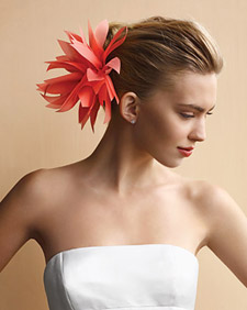 fabric dahlia hair clip at Martha Stewart Weddings