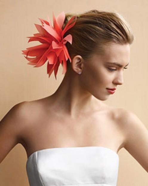 fabric dahlia hair clip at Martha Stewart Weddings