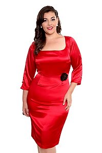 Lucky 13 - Hells Bells Red Satin Dress Internet exclusive! Look sexy in satin with this sleek red satin dress.