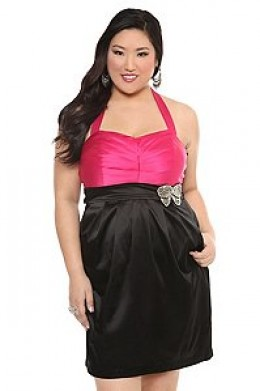 Black and Pink Satin Halter Dress with Bow Get your dance on with this playful black and pink satin halter dress. Features sparkly rhinestone ribbon accent and back-zip entry.