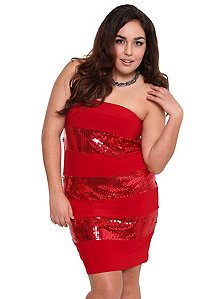 Red Sequin Stripe Tube Dress with elastic back. Internet exclusive!