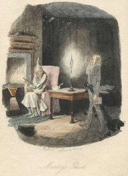 The Ghost of Marley (Pictures scanned by David Widger from the 1843 first edition. Found online at gutenburg.org)
