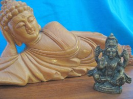 The reclining Buddah checks out Durga Hindu Earth mother who eats her children