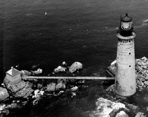 The Graves Light, Boston Harbor in the Public Domain.  This reminds me of part of the movie, and is in the same general area where the island might have been located.