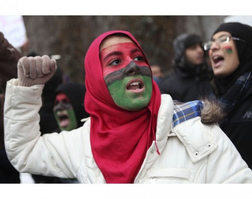Libyan protester in NY