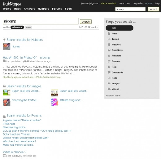 The hubpages.com search page offers a rich set of filtering tools.