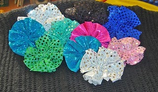 More fabric yo-yo's from sequin material- so pretty!