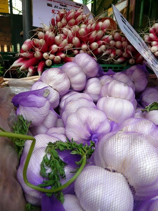 Ready to buy garlic at Borough Market, Camberwell London