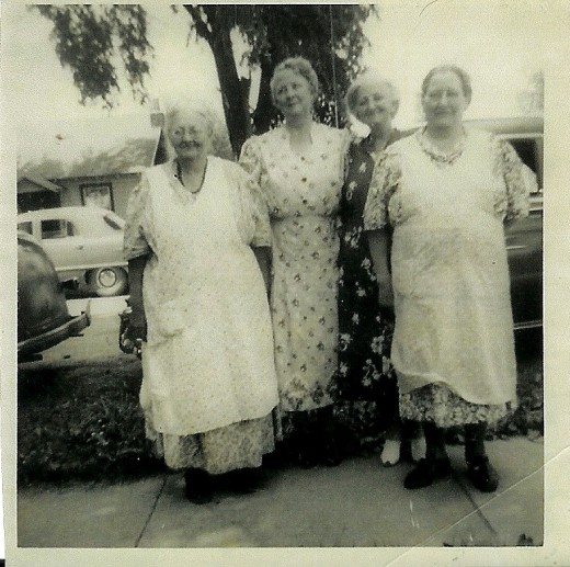 Joe's grandmother in dark dress, Elsie Lepley, with her sisters...He spent almost every summer on the farm with Grandma along with many cousins...those were the days
