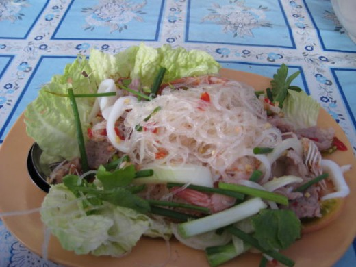 Thai Larb salad with glass noodle, pork, squid and shrimp - 50 baht in Chatuchak Weekend Market