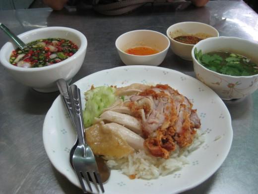 Chicken rice with fried chicken